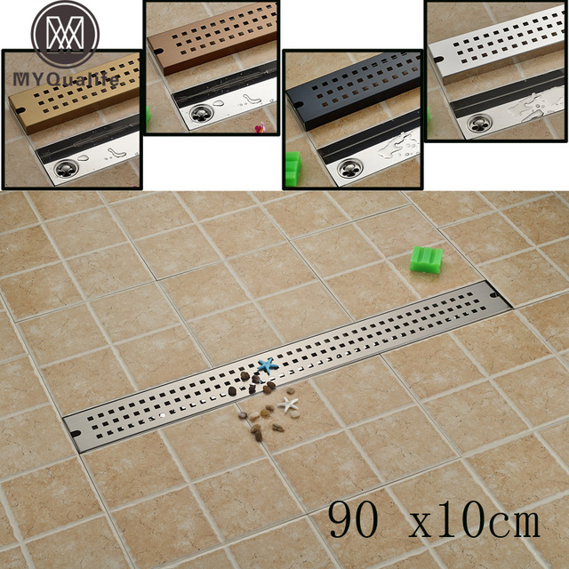 Stainless Steel Bathroom Floor Drain MM Linear Long Shower Grate - Bathroom floor drain installation