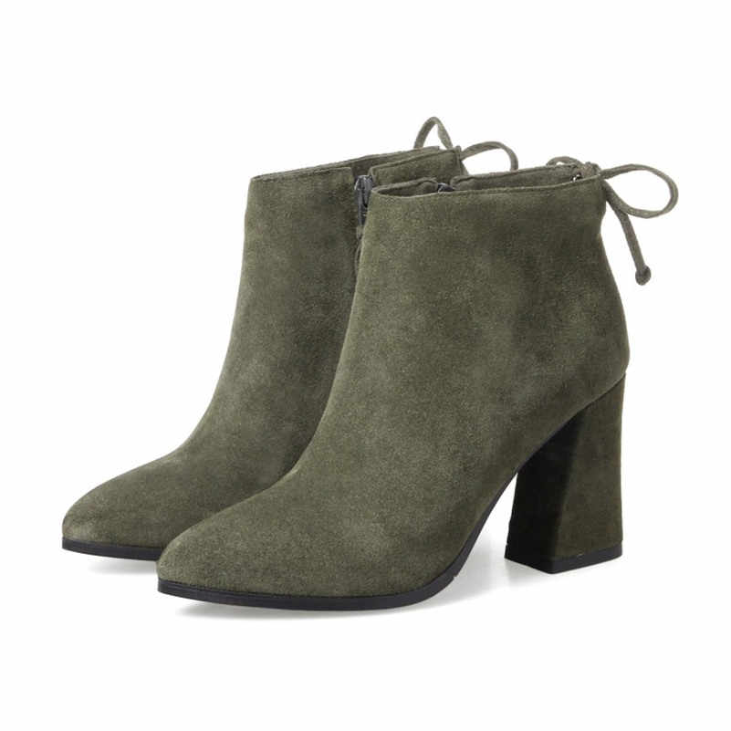 FEDONAS/2018 брендовые Модные женские зимние ботинки из натуральной кожи, пикантные ботильоны из коровьей замши, зимняя обувь с острым носком, женская обувь, Boots34-43