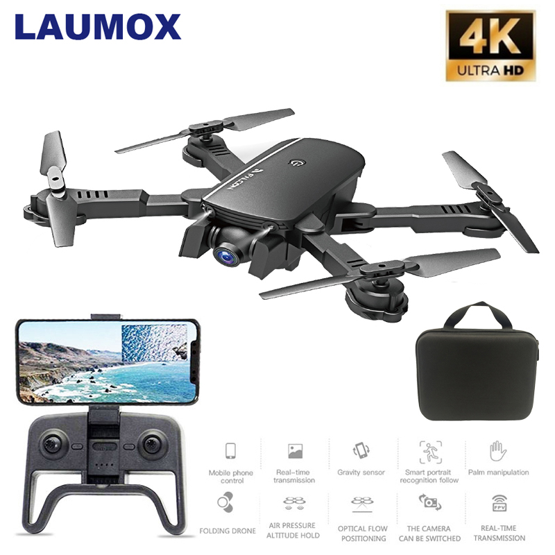 LAUMOX M66 RC Drone With 4K Camera Drone Wide Angle Optical Flow Positioning Gesture Photo Wifi FPV Foldable Quadcopter Vs E58