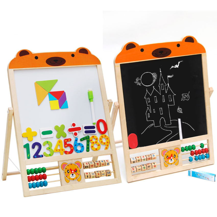 Double-sided Painting Magnetic Small Black and White Board Solid Wood Baby Writing Painting Board Blackboard Frame Double-sided Painting Magnetic Small Black and White Board Solid Wood Baby Writing Painting Board Blackboard Frame