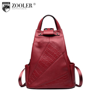 ZOOLER Cowhide Backpacks Quality Leather Woman Backpack Double Strap Bags For Girl Brand Fashion Large Capacity