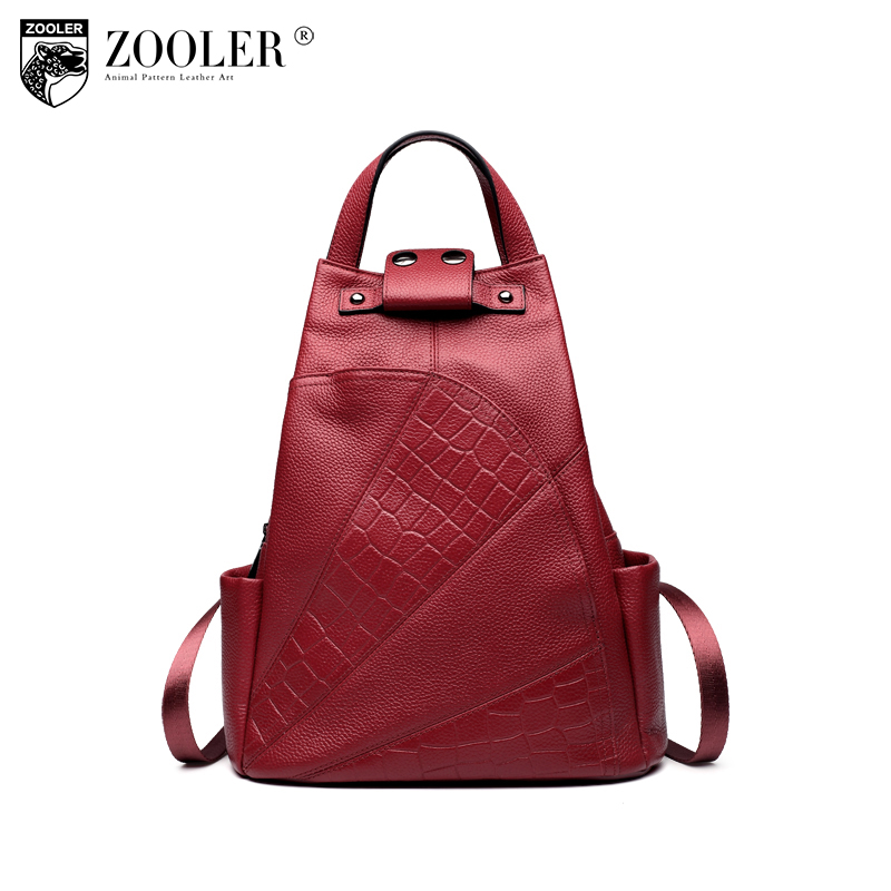 ZOOLER backpack women genuine Leather school bag Alligator high quality double strap bags for girl brand travel bags B151 brand bag backpack female genuine leather travel bag women shoulder daypacks hgih quality casual school bags for girl backpacks