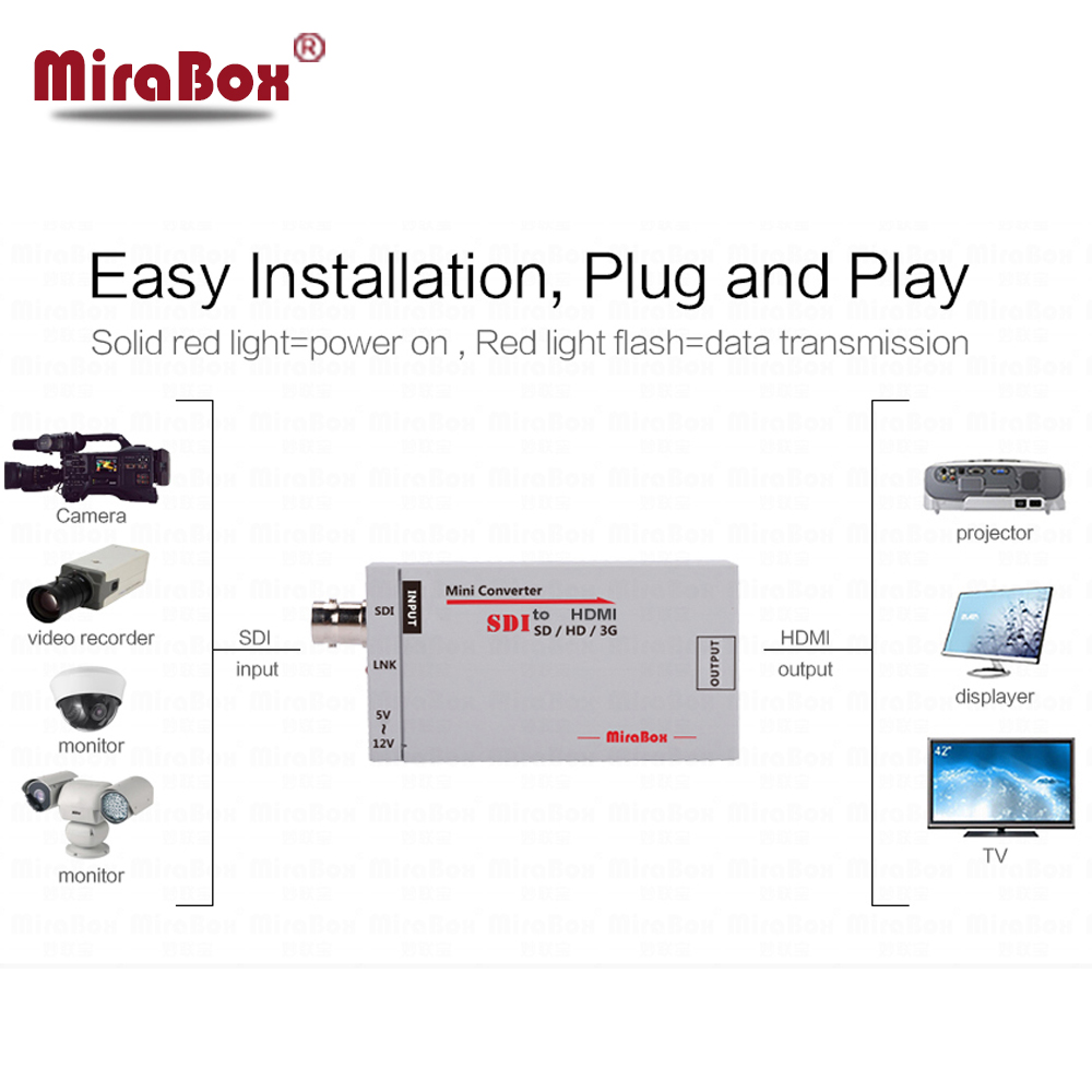 MiraBox HSV190 Портативный sdi в HDMI конвертер Full HD BNC мини SD-SDI/HD-SDI/3G-SDI к HDMI адаптер для вождения мониторы HDMI