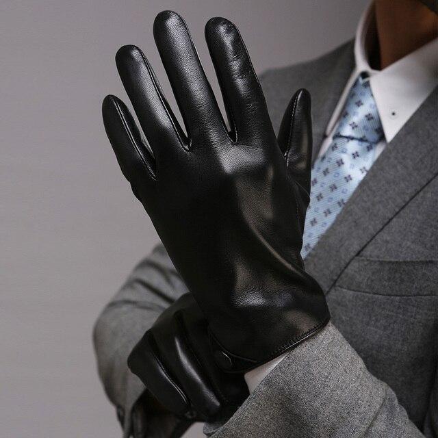 c461bbaa7bfdc Men Classic Black TouchScreen Leather Gloves Warm Fashion Winter Genuine  Goatskin Driving Glove Five Finger M001NC2
