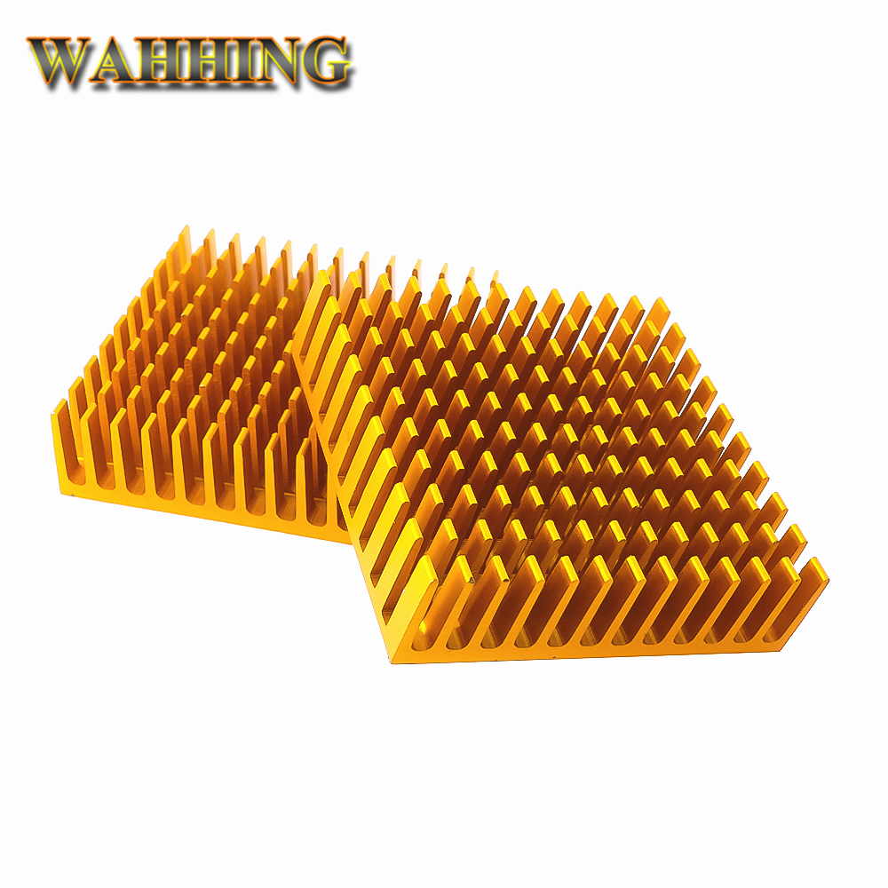 2pcs Gold Computer Cooling 40*40*11mm Radiator Aluminum Heatsink Heat sink for Electronic Heat dissipation Cooling Pads HY1593 jeyi cooling warship copper m 2 heatsink nvme heat sink ngff m 2 2280 aluminum sheet thermal conductivity silicon wafer cooling