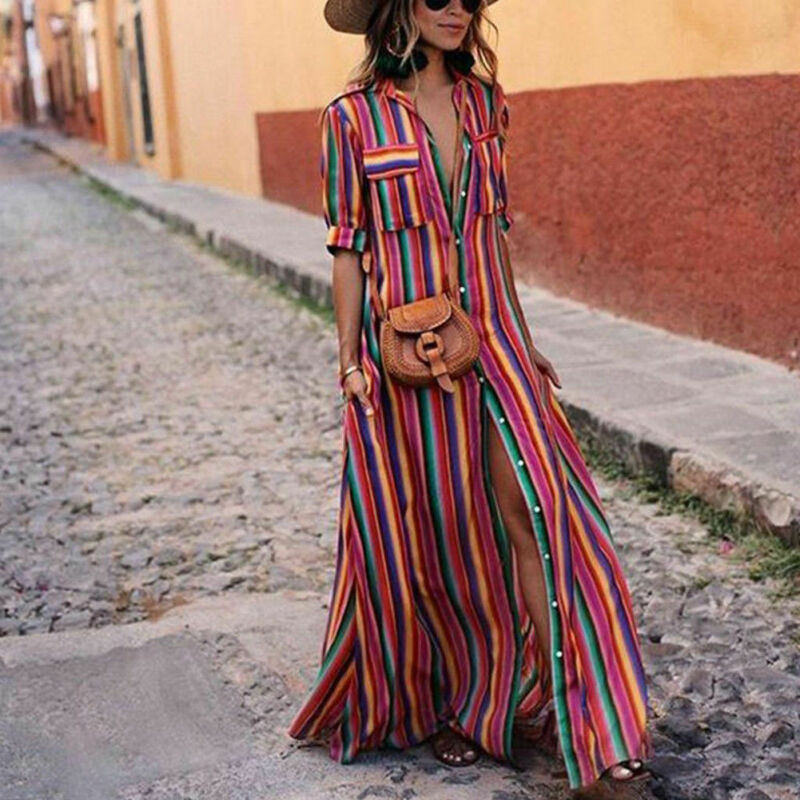 Women's Boho Beach Summer Holiday Maxi Dress Elegant Ladies Holiday Party Colours Rainbow Striped Sundress Streetwear Plus Size