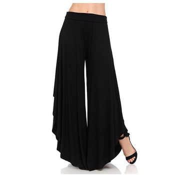 Spring Autumn Women Loose Pants Asymmetrical Patchwork Wide Leg Pants Casual Female Pleated Trousers Loose Streetwear