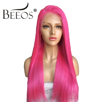 180 Density Rose Red Straight Lace Front Human Hair Wigs Free Part Brazilian Remy Hair for Women Princess Wigs with Baby Hair