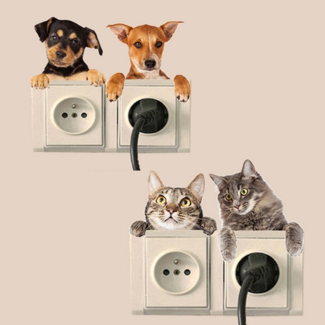 cartoon switch panel stickers cat dog animal theme wall decals for