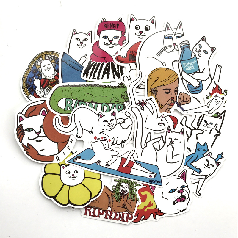 50pcs/1lot Funny Ripndipp Sticker Creative Personality Waterproof Rip N Dip Laptop Sticker For Finger Skateboard Car Styling Dec
