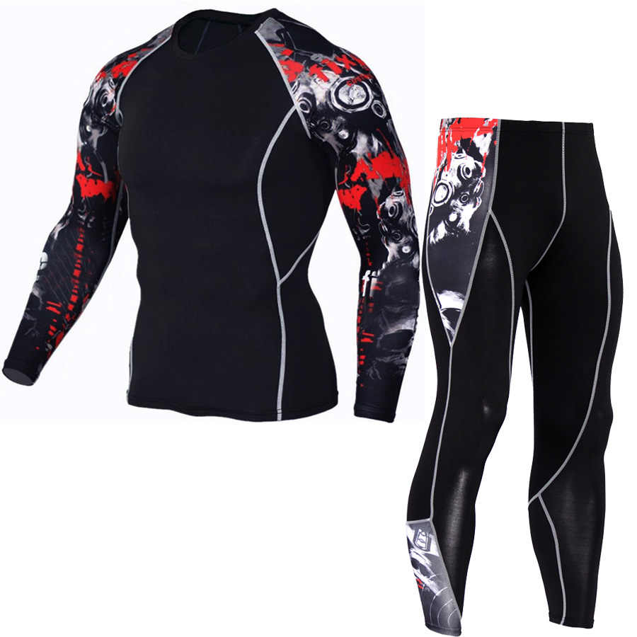 Мужская футболка с принтом и штаны, компрессионное приталенное с длинными рукавами, быстросохнущая одежда, комплект одежды для фитнеса, MMA, 3d принт, Мужской комплект
