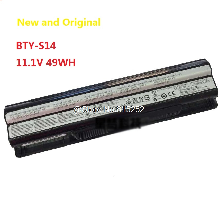 Laptop Battery For MSI GE60 GE70 CR650 FR700 FR600 BTY-S14 Li-ion 11.1V 49WH New laptop battery for asus x552 x552cl x552e x552ea x552ep x552l x552ld x552vl x552la 15v 2950mah 44wh li ion oem