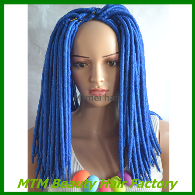 Dreadlocks Extensions Crochet Braids Hair 1418 120g Blue Color