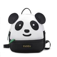 Korean Style Mini Kindergarten School Backpack for Girls Panda Kids Cute Bookbag PU Leather Backpack