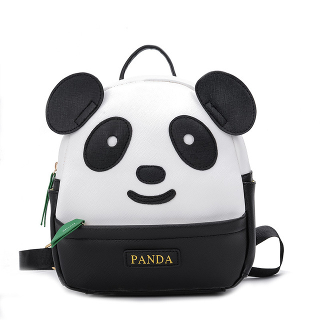 Korean Style Mini Kindergarten School Backpack for Girls Panda Kids Cute Bookbag PU Leather Backpack