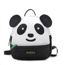 Koreanischen Stil Mini Kindergarten Schule Rucksack für Mädchen Panda Kinder Nette Bookbag PU Leder Rucksack
