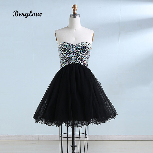 BeryLove Black Ball Gown Tulle Short Graduation Dresses 2018 Mini Crystals Homecoming  Dresses Special Occasion Party Dress Gowns c84d60bd2a8c