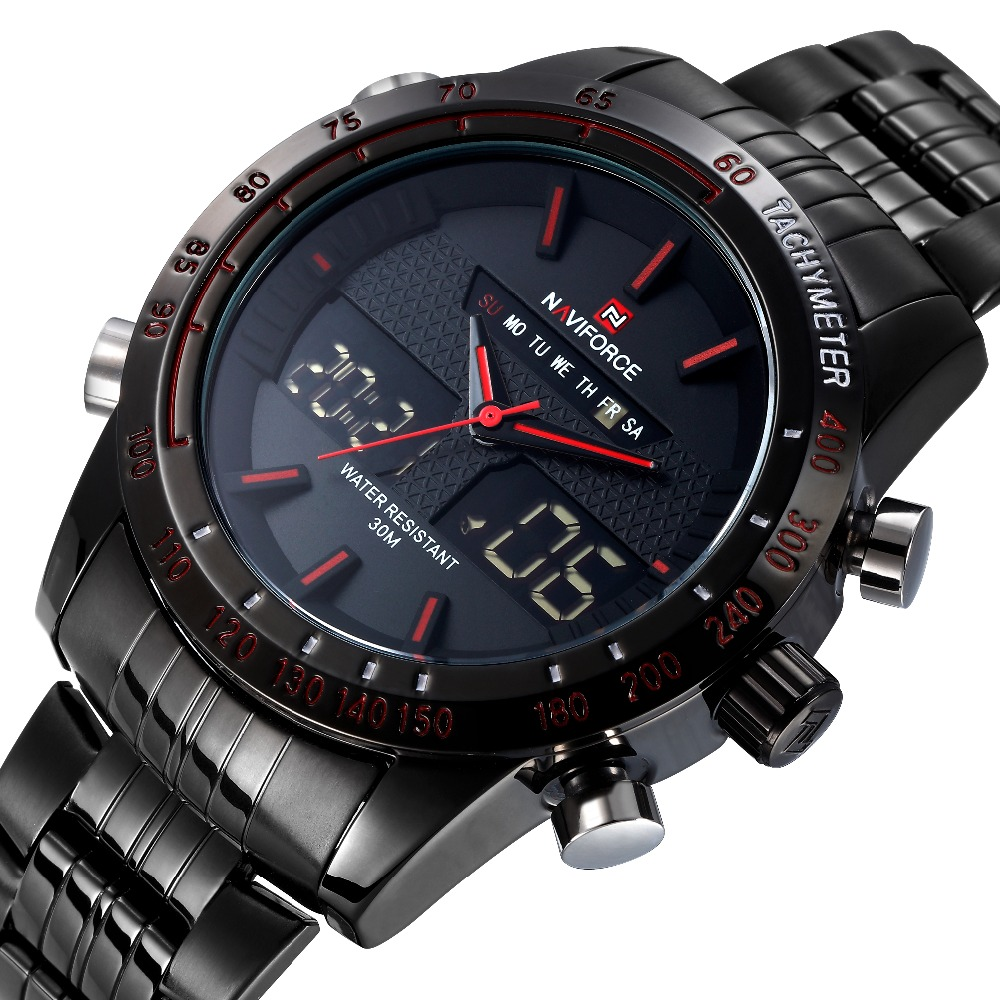 Buy brand naviforce watches men luxury full steel quartz clock led digital for Watches digital