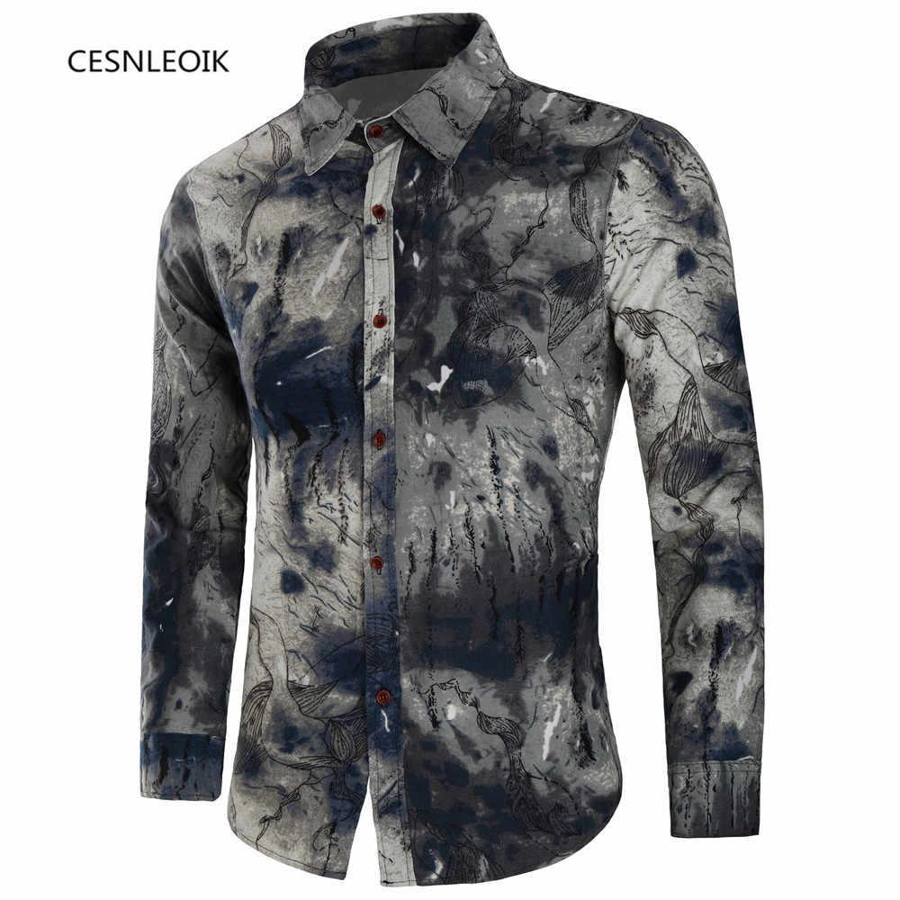 סתיו חדש אופנה פרח מודפס ארוך שרוול חולצות גברים camisa זכר slim פרח חולצות בציר פשתן מזדמן גברים חולצה C8820