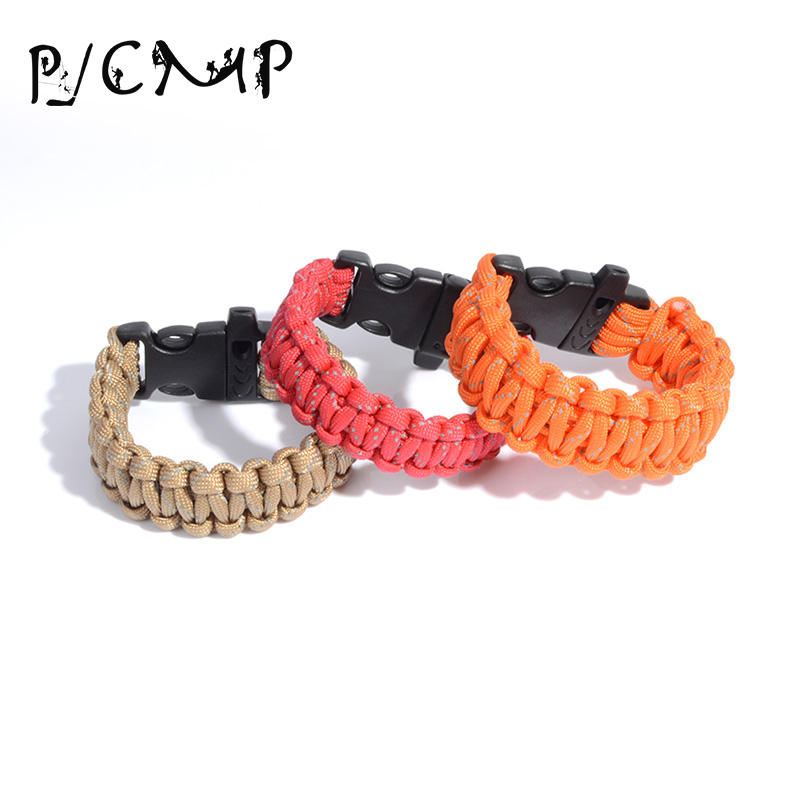 Charms Male Paracord Survival Bracelet With Whistle Reflective Rope Outdoor Camping Hiking Buckle Wristband Bracelets Parakord