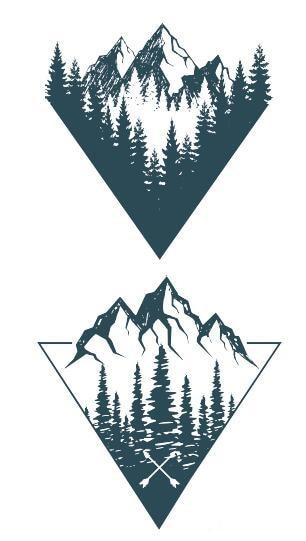 Waterproof Temporary Fake Tattoo Stickers Blue Triangle Mountain