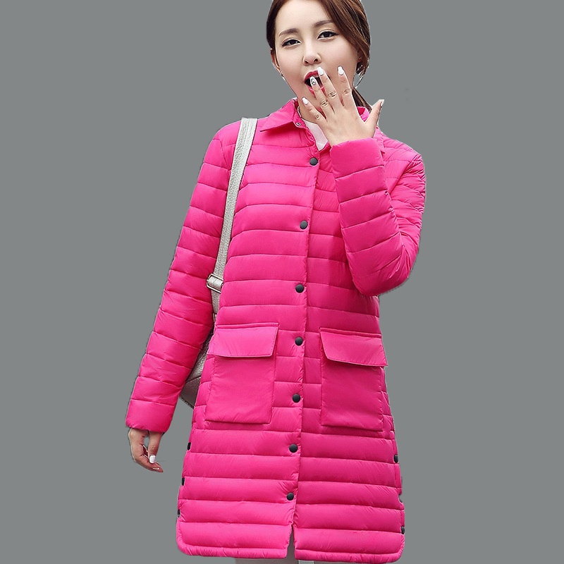 ФОТО 2016 New Autumn Jacket Women Winter Coat Female Ultra Light Thin Cotton Padded Slim Warm Jacket Medium-Long Coats and park wt206
