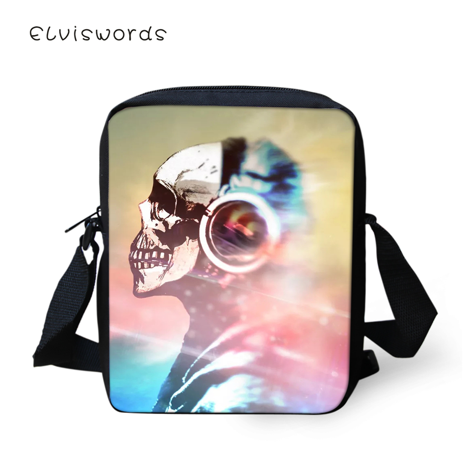 ELVISWORDS Fashion Women Flaps Messenger Bags Music Skull Pattern Girls Cross Body Bag Cool Skull Design Girls Mini Purses in Crossbody Bags from Luggage Bags