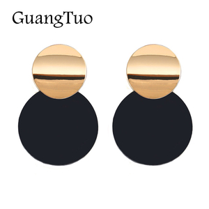 New Fashion Special Smooth Round Metal Black Stud Earrings Charm Trendy Glossy Statement Earrings for Women Jewelry EK2145(China)