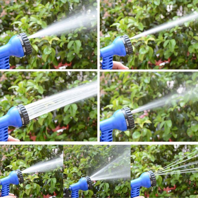 7 In 1 Spray Gun 25-200FT Expandable Garden Hose Latex Tube Magic Flexible Hose for Garden Car Plastic Hoses Blue garden hose
