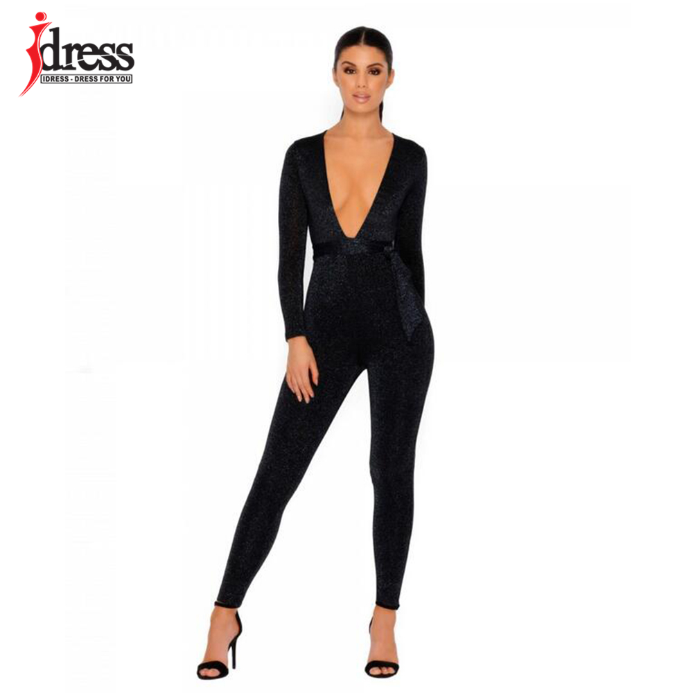 Jumpsuits Fashion Style 2018 Autumn Winter Long Rompers Slim Full Backless Overalls Women Sexy V Neck Pleuche Bodysuits Bodycon Velvet Sash Jumpsuits Sale Price