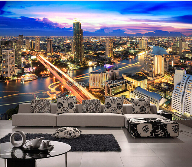 Can customized large 3d mural art wall home decor living room bedroom City landscape space, expanding wall stickers wallpaper
