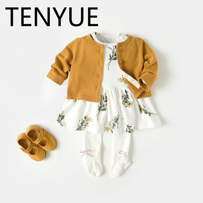 TENYUE, Baby Suit 2018 Autumn Winter Dress Infant Autumn Cardigan Dress Baby Girl Fashion Two-piece Skirt недорго, оригинальная цена