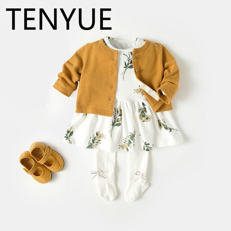 TENYUE, Baby Suit 2018 Autumn Winter Dress Infant Autumn Cardigan Dress Baby Girl Fashion Two-piece Skirt цена 2017