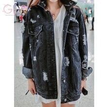 GDA 2016 горячая Корея новых мужчин джинсовые куртки свободные большой размер женщины шинель прицепное карманы хлопок ковбойские джинсы Бесплатная доставка Y