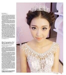 Image 4 - Nueva de lujo de la novia de la boda grande de cristal de encaje de la cadena nupcial princesa plataforma Prom V hombro joyería de cristales para collar