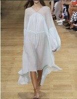 100% шелк vogain 2016 женские Элитный бренд взлетно посадочной полосы моды негабаритных элегантные пикантные v образным вырезом Плиссированное Пл
