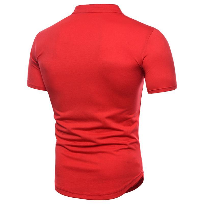 b3528c587d2 Lace Up Collar Men T Shirt Black White Solid Color Cotton Casual T ...