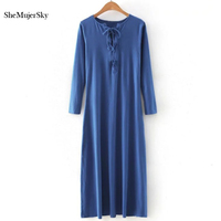 SheMujerSky Maxi Dress Women Long Sexy V Neck Bandage Dress Robe Femme Long Sleeve Red Blue