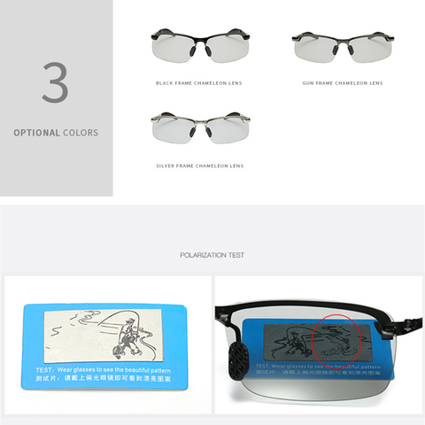 Photochromic Sunglasses Men Polarized driving Chameleon Glasses Male Change Color SunGlasses Day Night Vision Driving Eyewear Multan