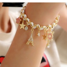 Hot style tassel five-pointed star poker bracelet Japan and South Korea five-leaf flower
