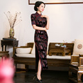 TIC-TEC women cheongsam long qipao chinese traditional dress oriental dresses autumn velvet vintage print elegant clothes P2901