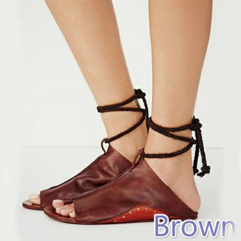 She Era Women Sandals Summer Sandals for Woman Causal Flat Sandals Fashion PU Leahter Ankle Strap Women Shoes size 35-43