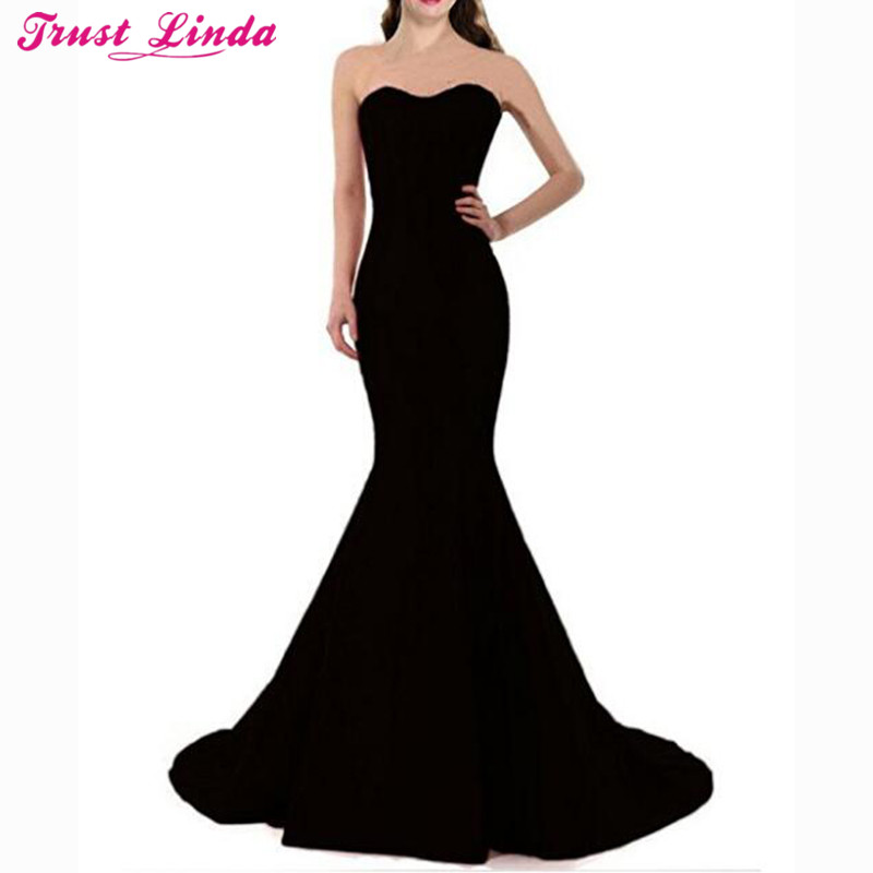 Sexy Sweetheart Black Mermaid   Bridesmaid     Dresses   Simple Long Prom Gowns Bridal Party Wear   Dress   2018 Custom Made Wholesale