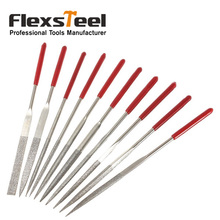 Flexsteel 10pcs/set Precision Diamond Needle Files Set 5-1/2-Inch/140x3MM Red Handle for Metal Steel Glass Tile Stone