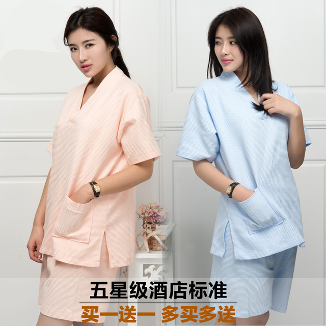 2016 new women's cotton pajamas Bathrobe kimono hotel bathrobe spring and summer Waffle sweat evaporate couples bath robe
