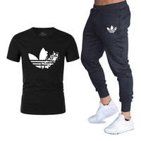 2019 new Full tshirt Sets short sleeve men summer Tracksuit Fashion Clothing Print Fitness short sleeve t shirt Suits