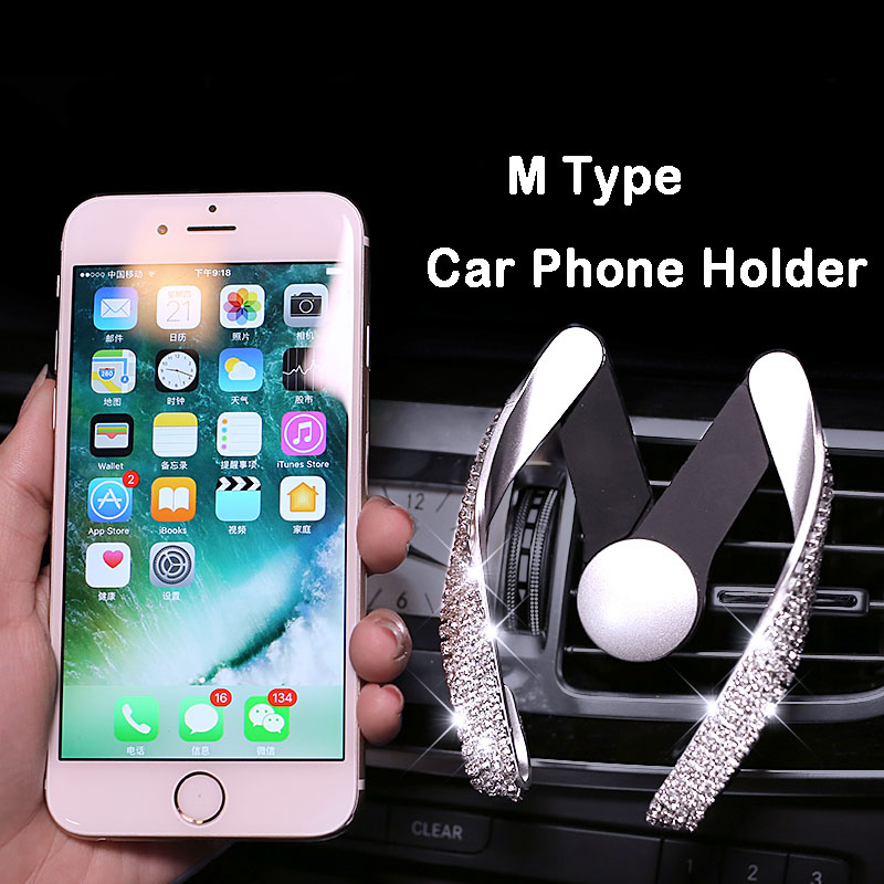 Crystal Diamond M Mobile Car Phone Holder Air Vent Mount ABS Mobile Phone Stand Holder Adjustable for iPhone Samsung GPS Styling