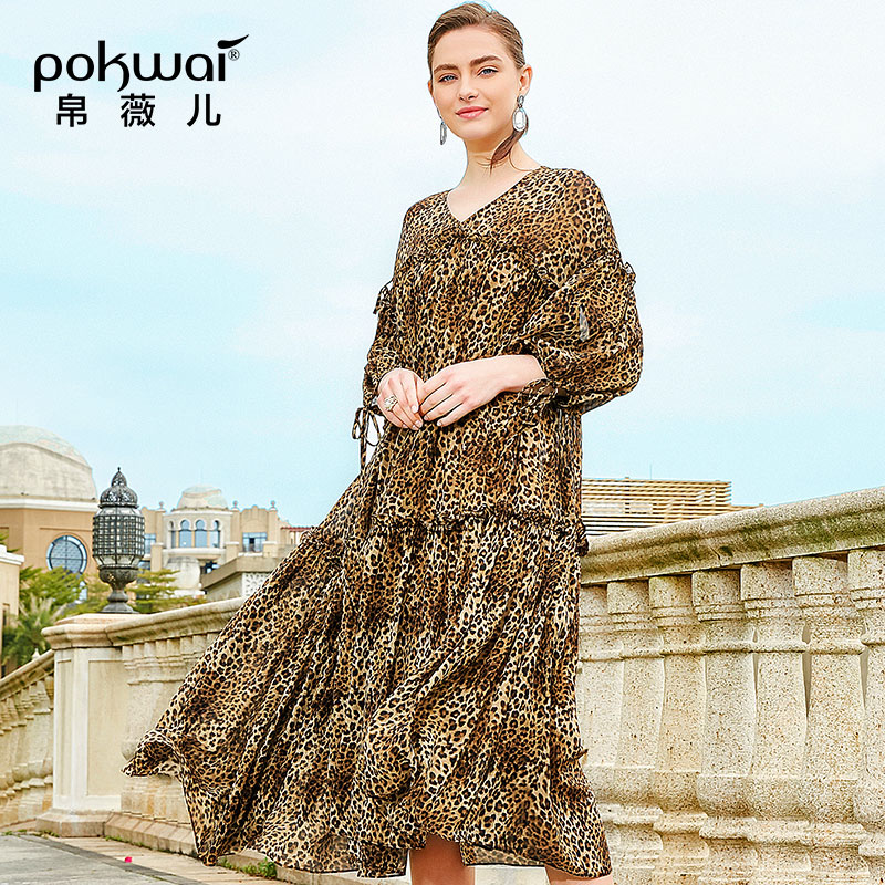 POKWAI été robe 2019 nouvelle mode léopard vague Point grand pendule un mot robe col en v grande taille couverture ventre robe