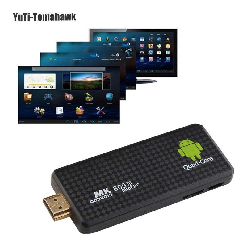 Mini PC TV Bâton Android 7.1 Quad Core Rockchip RK3229 2g/8g Wifi TV Media Player MK809III bluetooth XBMC DLAN TV Dongle Bâton