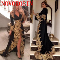 Gold Lace Appliques Muslim Evening Dress With Long Sleeves 2019 Formal Celebrity Gowns High Split Saudi Arabic Black Prom Dress